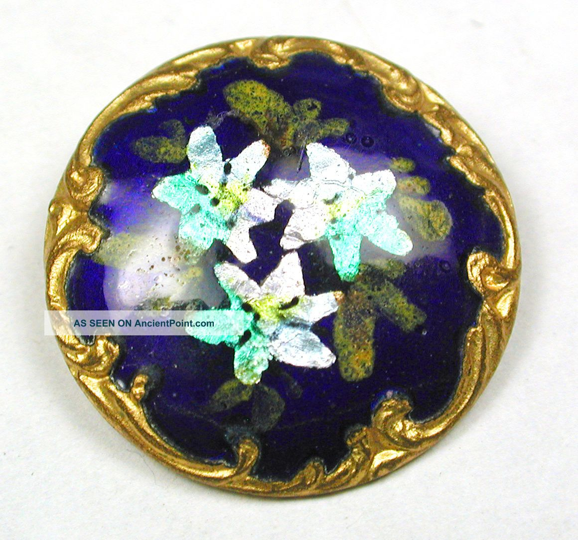 Antique Enamel Button Cobalt W/ Flower On Foil W/ Fancy Brass Border 13/16
