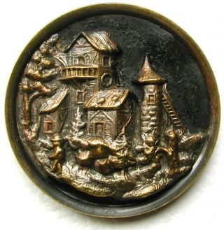 Lg Sz Antique Brass Button Detailed Castle Tower Pictorial Design - 1 & 1/2