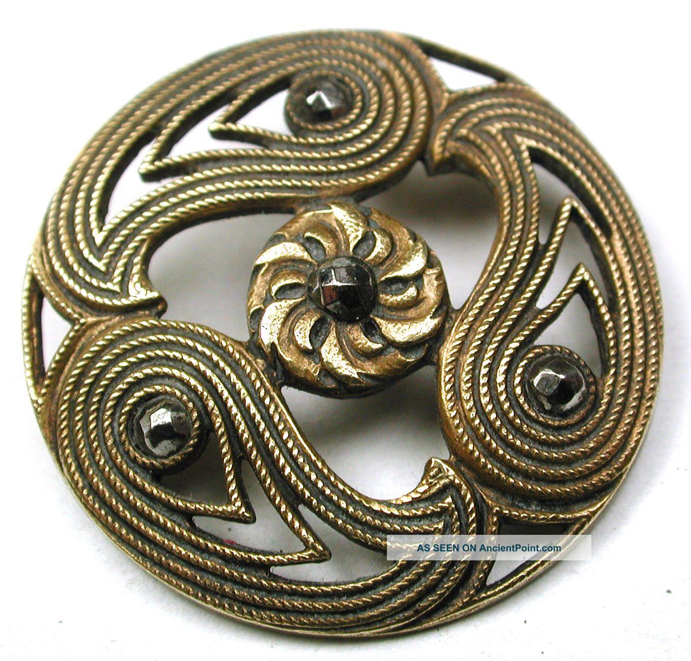 Antique Pierced Brass Button 3 Paisleys W/ Flower & Cut Steel Accents 1 & 1/16 Buttons photo