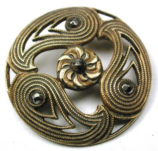 Antique Pierced Brass Button 3 Paisleys W/ Flower & Cut Steel Accents 1 & 1/16 photo