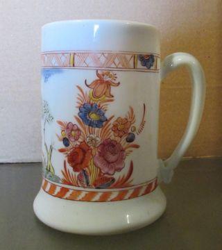 Early Hand - Blown Flint Milk Glass Hand - Painted Mug 18th Century photo