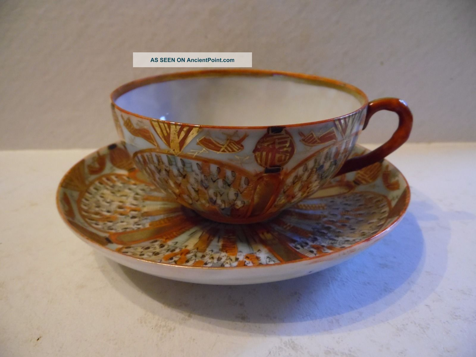 Vintage Hand Painted Asian Tea Cup & Saucer Boat Dragon Lanterns Cups & Saucers photo
