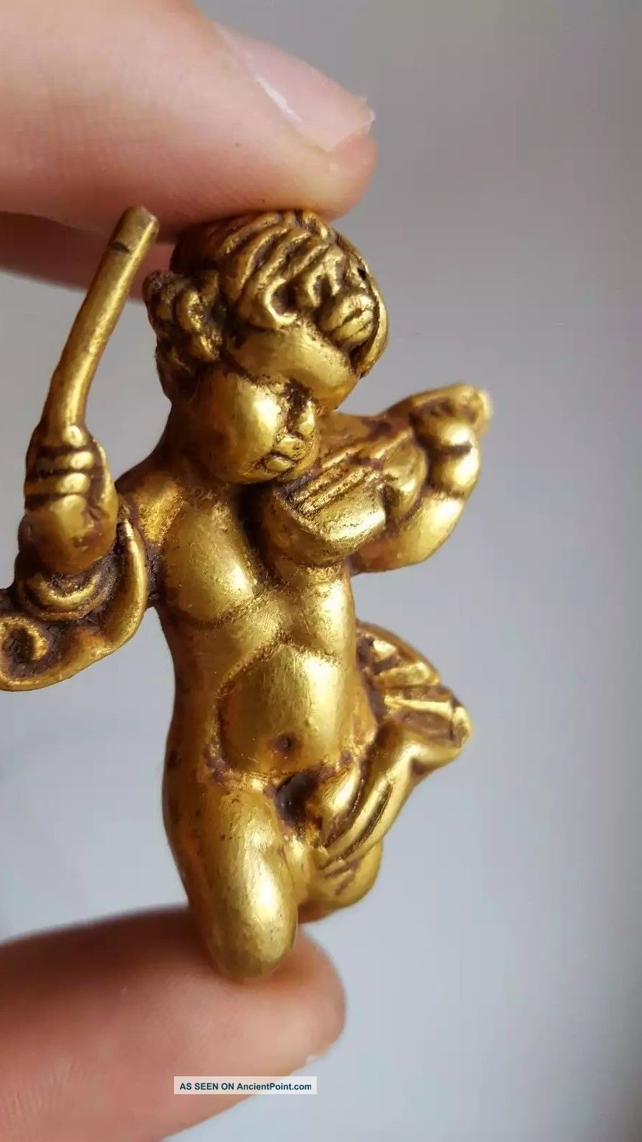 Ancient Cherub Angel Standing With Violin Gold Roman Statue Roman photo