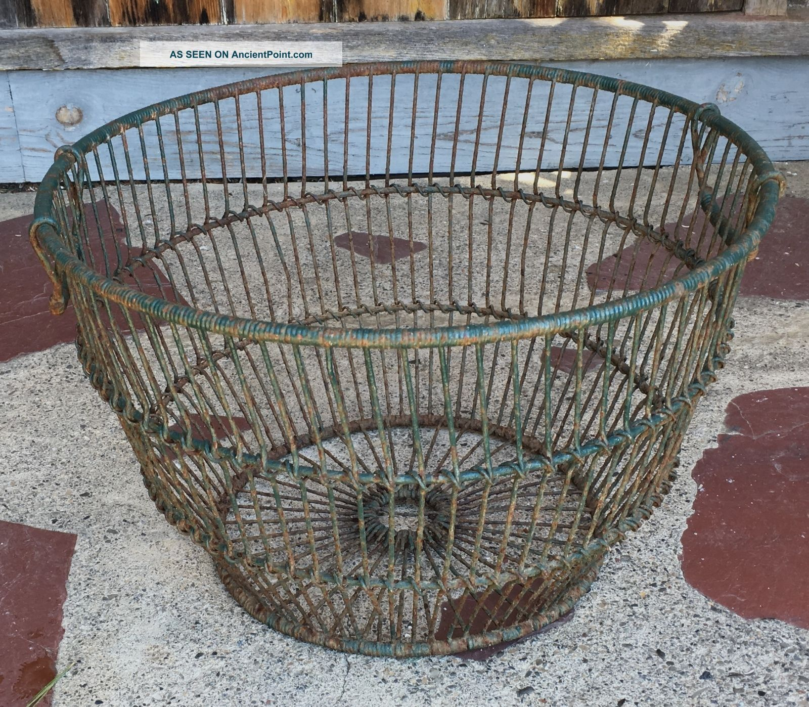 Large Vintage Oyster Gathering Basket Green Paint Circa 1940 Other Maritime Antiques photo