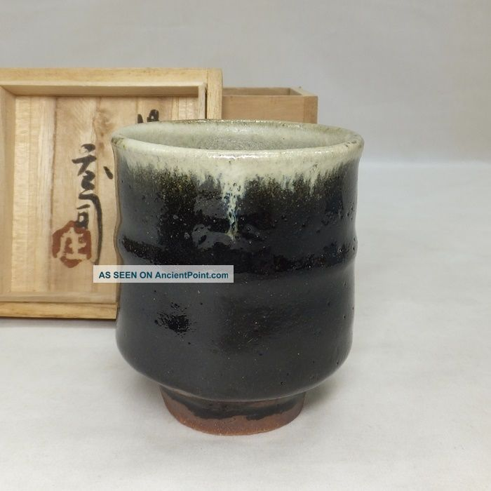 A602: Real Japanese Mashiko Pottery Tea Cup By Great Shoji Hamada W/box. Glasses & Cups photo