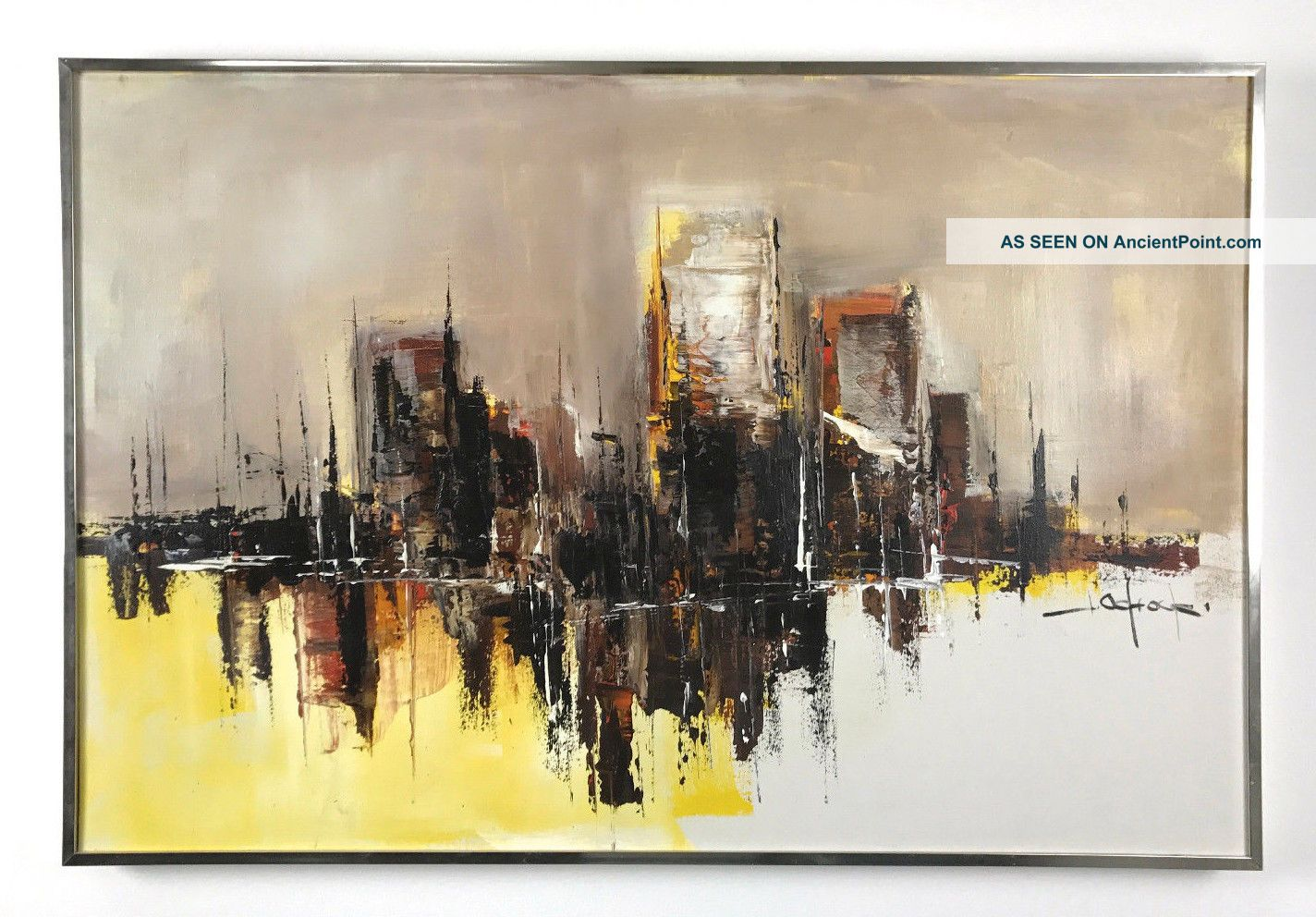 36x24 Vintage Signed Abstract Cityscape Oil Painting Mid Century Modern Mid-Century Modernism photo