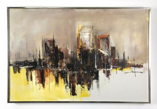 36x24 Vintage Signed Abstract Cityscape Oil Painting Mid Century Modern photo