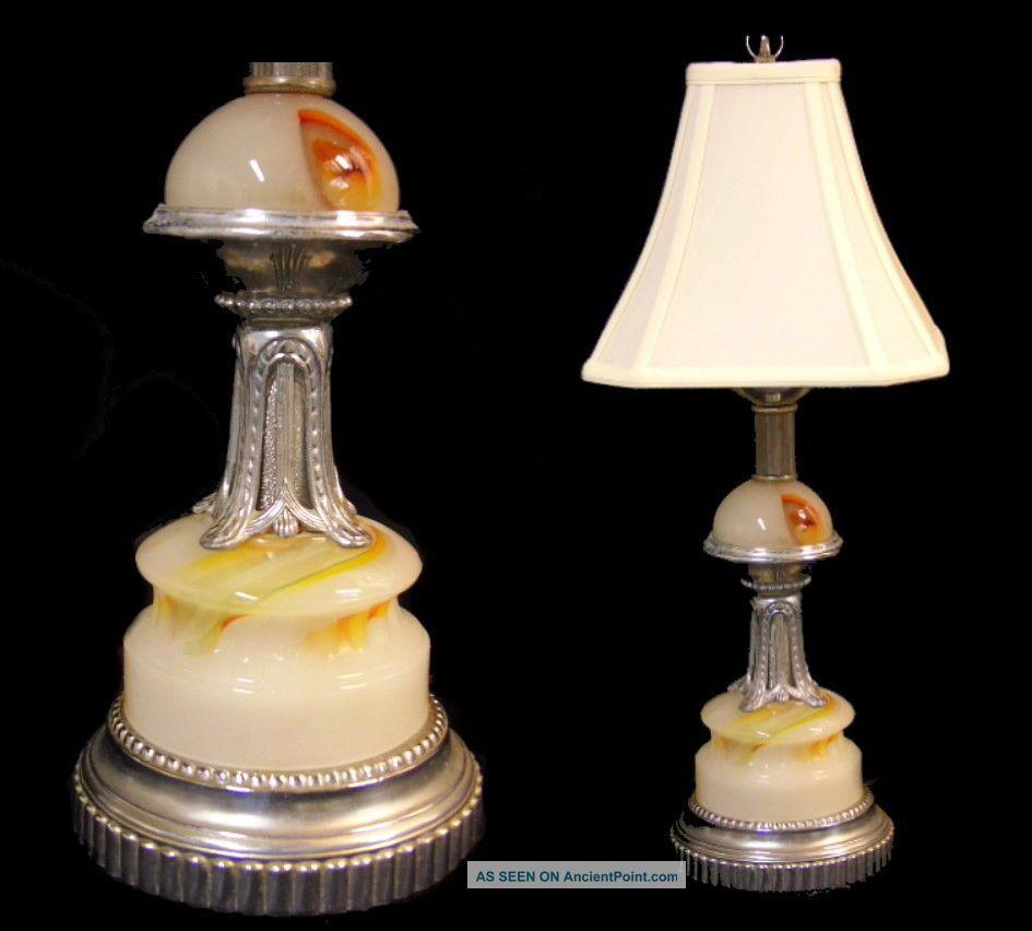Antique/vintage Art Deco Machine Age Akro Agate Marble Glass & Chrome Table Lamp Art Deco photo