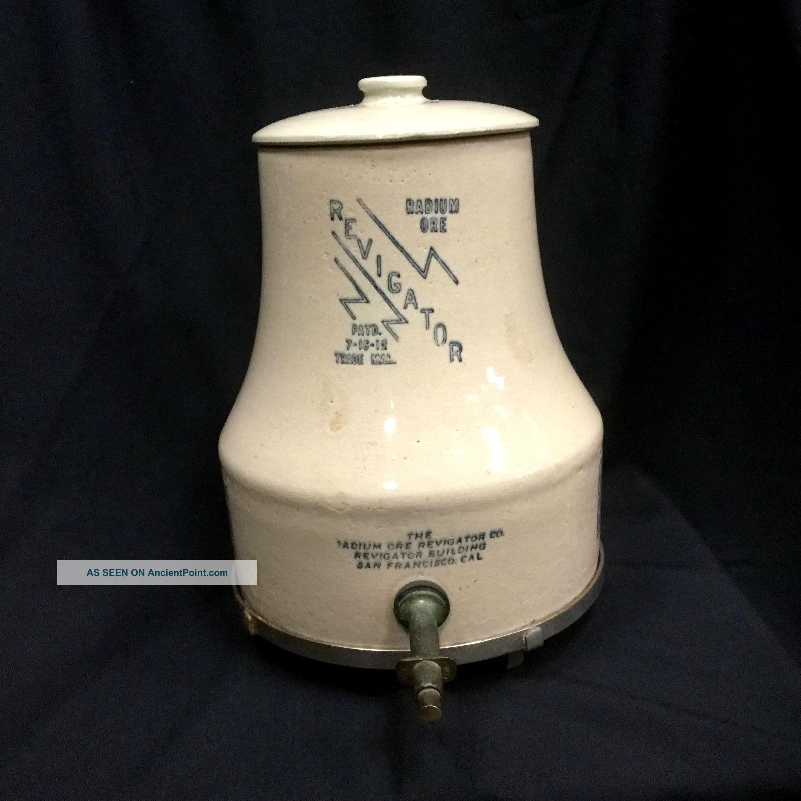1912 Stoneware Radium Ore Revigator Complete With Lid,  Spigot And Stand Quack Medicine photo