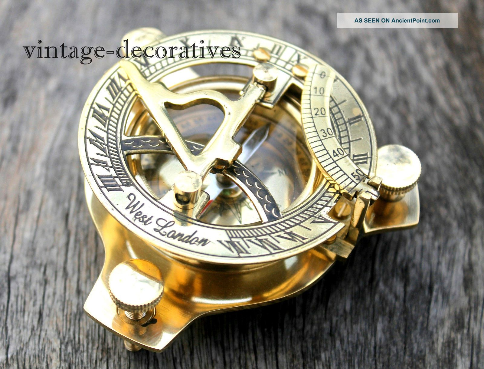 Solid Brass Sundial Compass Handmade Marine Nautical Compass Pocket Gift Compasses photo