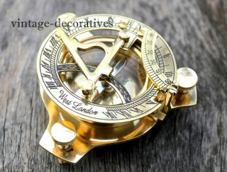 Solid Brass Sundial Compass Handmade Marine Nautical Compass Pocket Gift photo