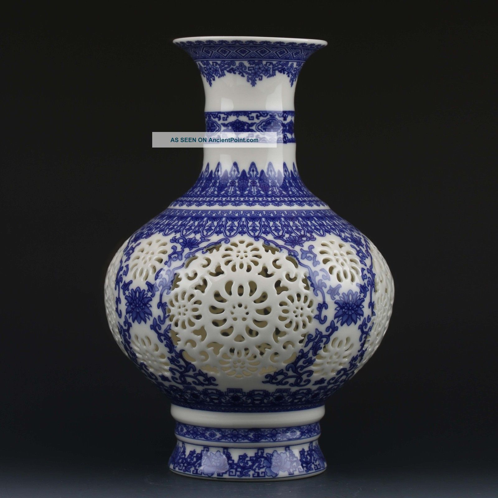 Chinese White & Blue Porcelain Hand Painted & Hollow Carved Vase W Qianlong Mark Vases photo