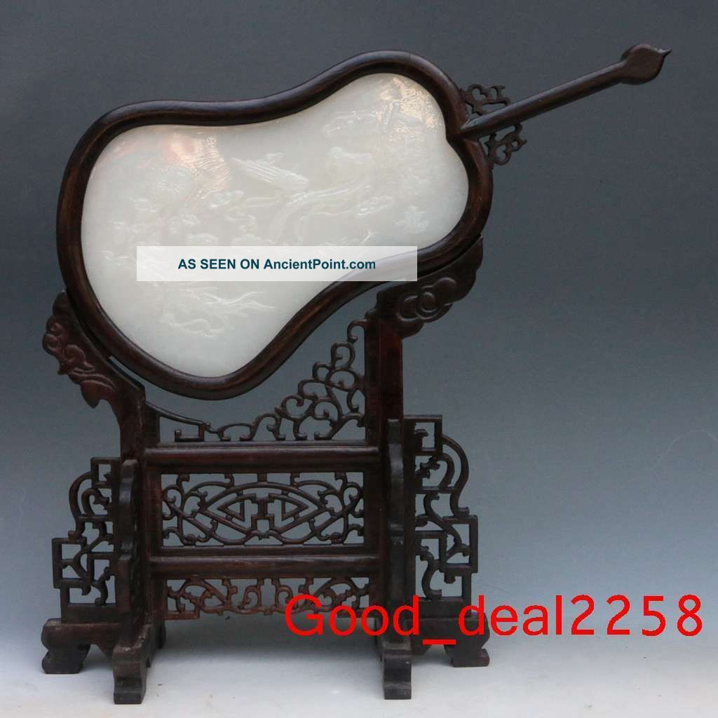 Chinese Fan - Shaped Wood Inlay Afghanistan Jade Carved Ginseng & Ruyi Screen Other Chinese Antiques photo