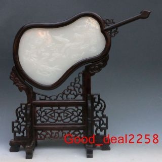 Chinese Fan - Shaped Wood Inlay Afghanistan Jade Carved Ginseng & Ruyi Screen photo
