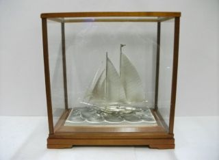 The Sailboat Of Silver985 Of Japan.  2masts.  129g/ 4.  54oz.  Takehiko ' S Work. photo