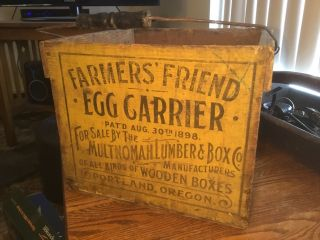 Vintage Antique Wood Farmers Friend Egg Carrier Advertising Crate Box 1898 photo