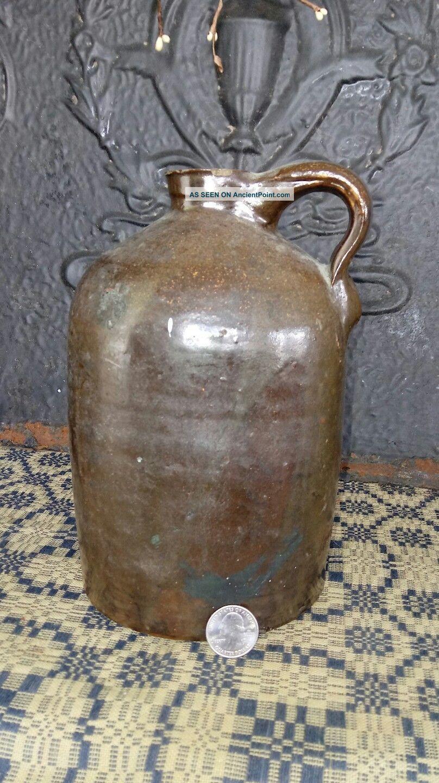 Early Antique Dark Brown Salt Glazed Beehive Stoneware Crock Jug 1 Gal Aafa Primitives photo