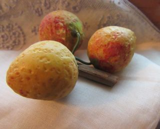 Vintage Stone Alabaster Fruit 3 Strawberries Carved Painted Stone photo