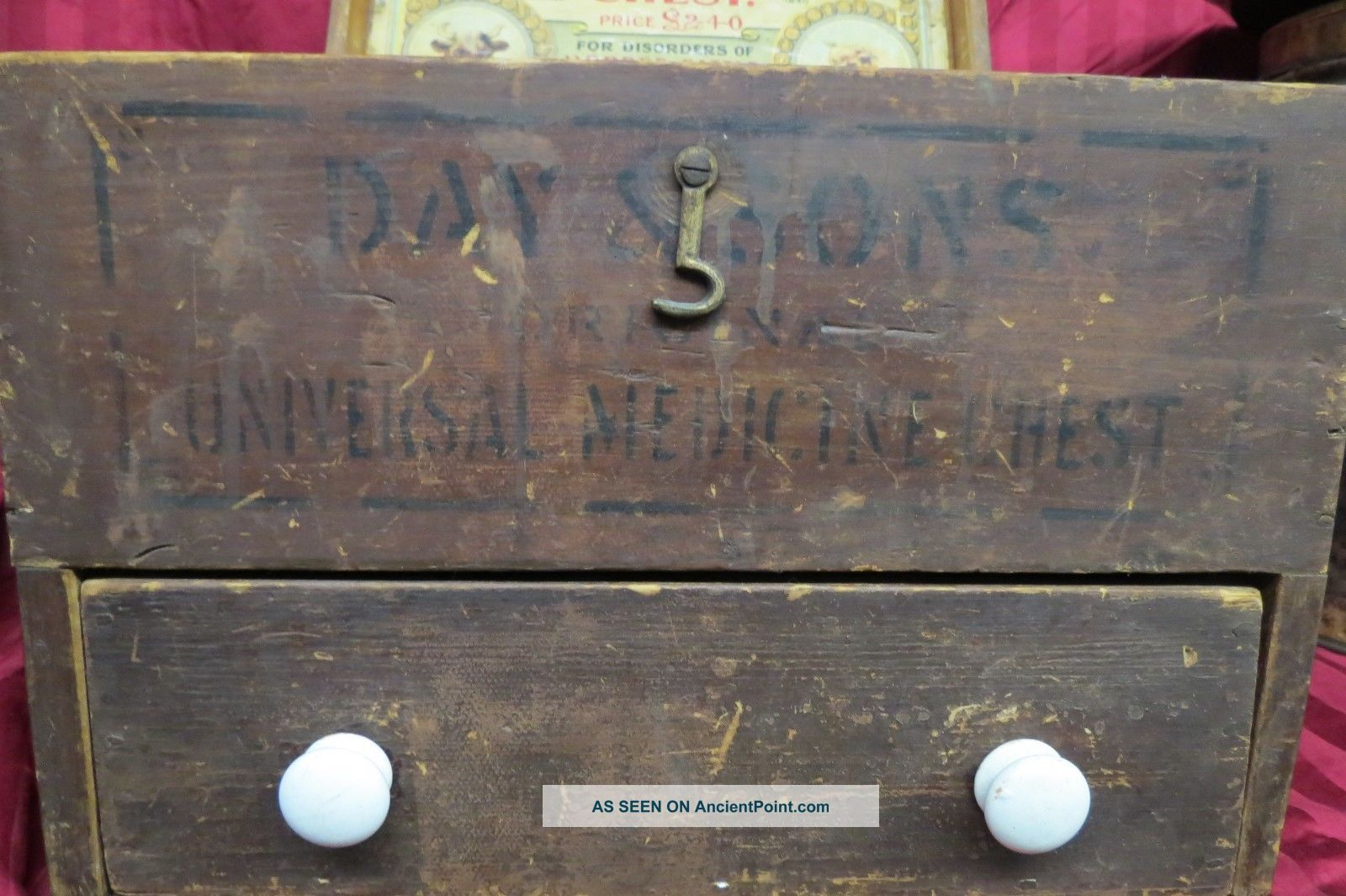 Antique Day & Sons Universal Animal Medicine Chest Veternary Wood Chest W/ Adver 1900-1950 photo
