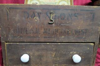 Antique Day & Sons Universal Animal Medicine Chest Veternary Wood Chest W/ Adver photo