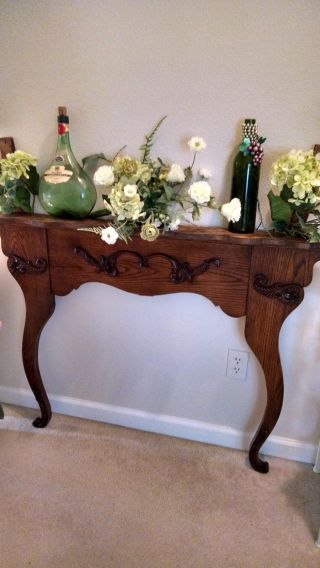 Antique Upcycled Carved Oak Dresser Harp As Hall Table Or Shelf photo