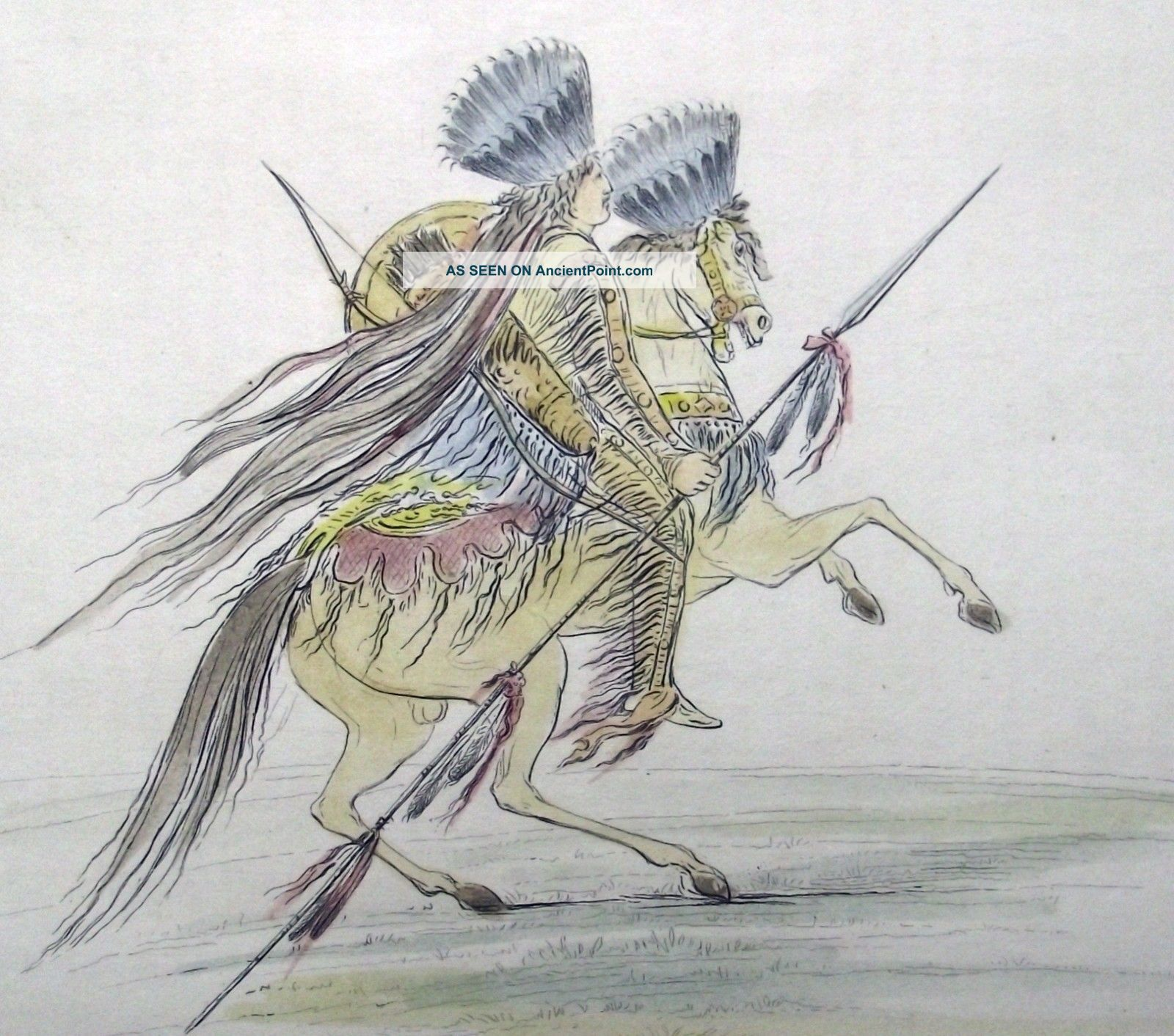 1842 G.  Catlin Handcol Engraving Native American Indians Hidatsa Crow Chief Native American photo
