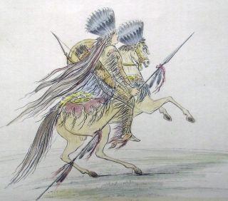 1842 G.  Catlin Handcol Engraving Native American Indians Hidatsa Crow Chief photo