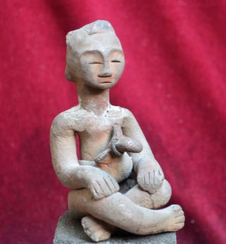 Antique Pottery Statue/idol With A Keris,  Celebes,  Indonesa photo