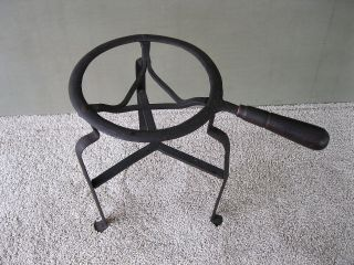Antique Trivet Hearth Kettle Stand W/handle Wrought Iron Tripod 13 - 1/4  X8 - 5/8