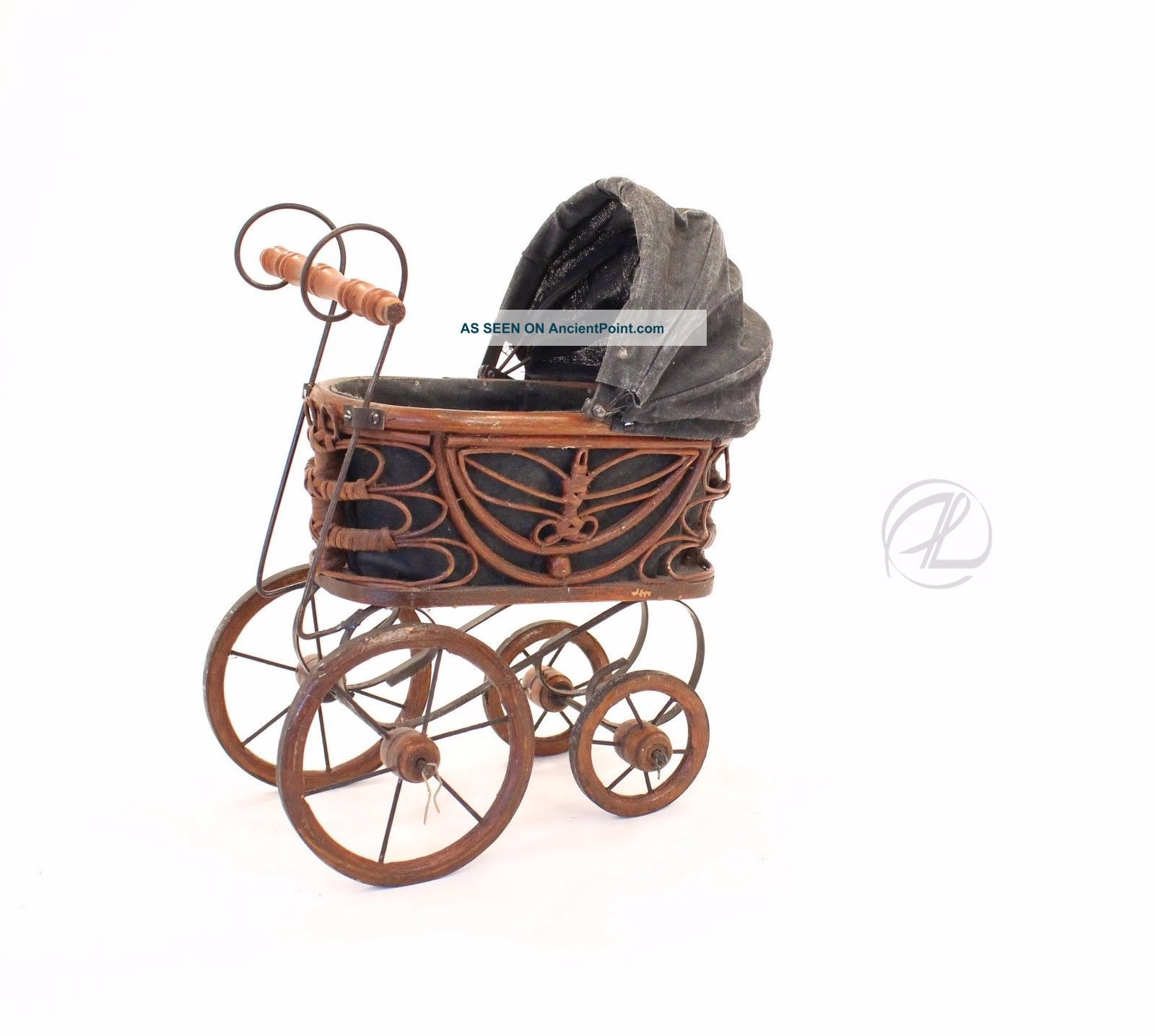 Vintage Doll Baby Carriage Victorian Stroller Wicker Metal Springs Cloth Bonnet Baby Carriages & Buggies photo