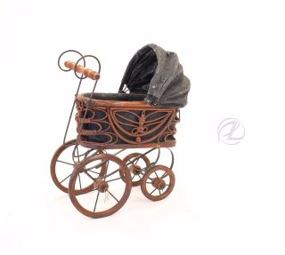 Vintage Doll Baby Carriage Victorian Stroller Wicker Metal Springs Cloth Bonnet photo