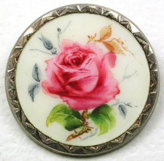Antique Sterling Silver Enamel Button Hnd Paint Rose Tooled Border Bk Mk 1&1/16