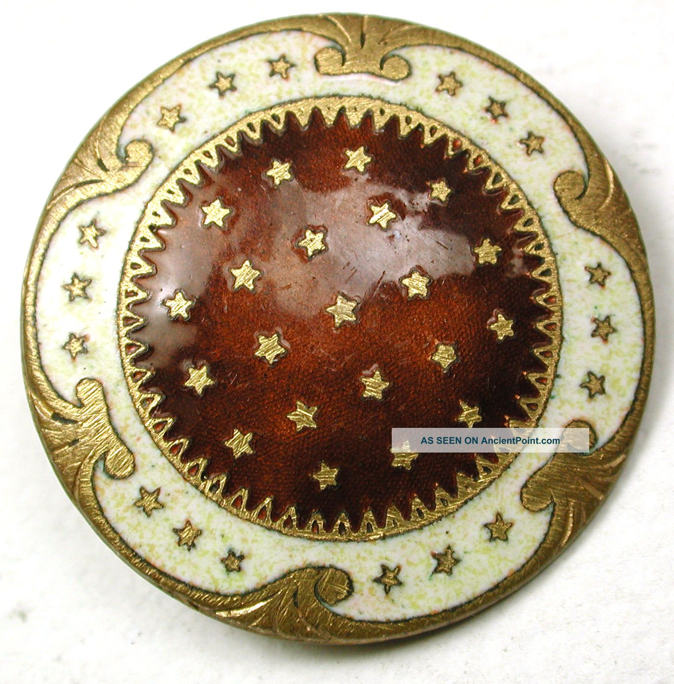 Antique French Enamel Button Caramel & Cream W/ Stars Design - 1 & 1/16