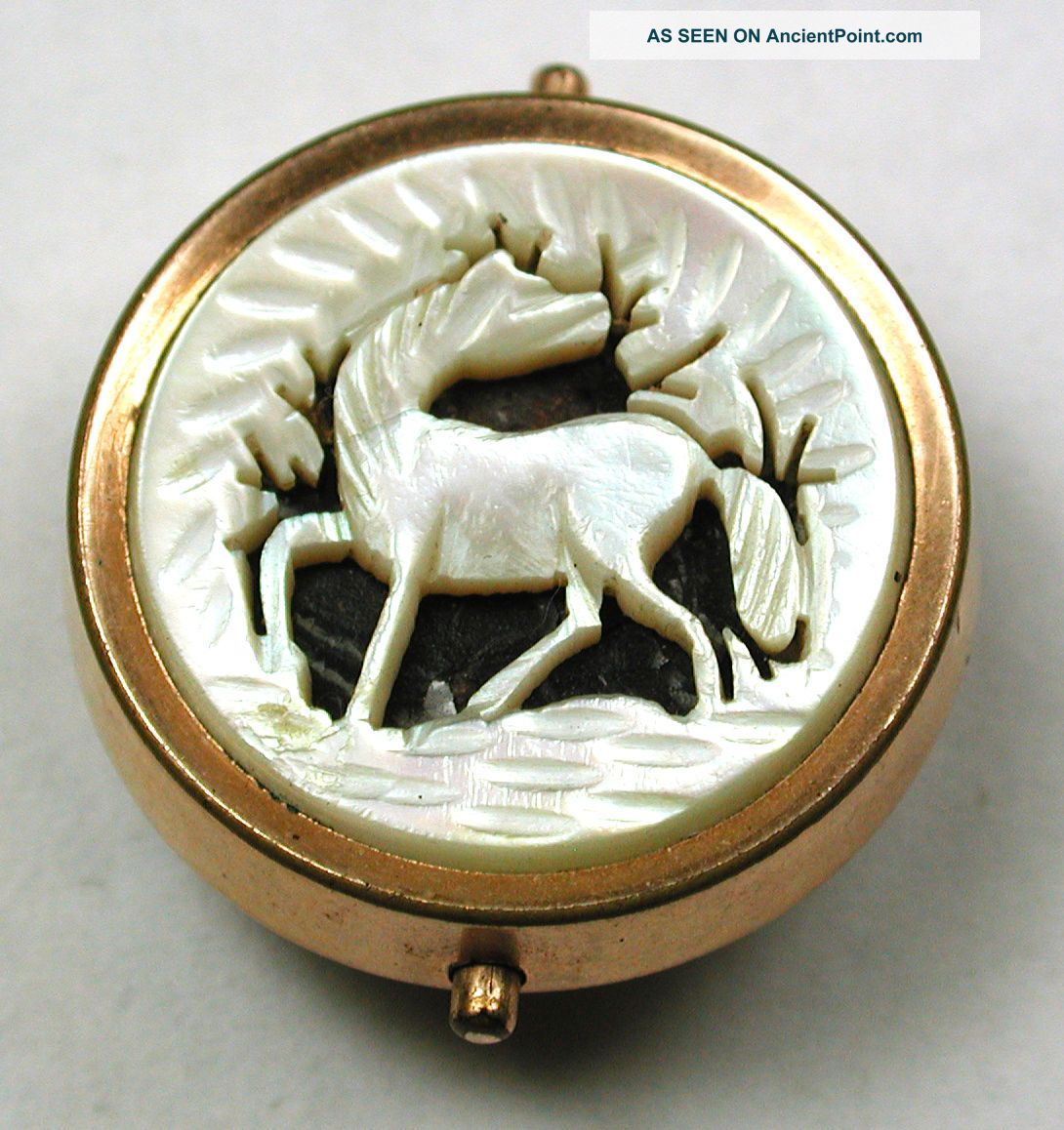 Antique Pierced Carved Mop Shell Button Detailed Horse In Brass Setting - 15/16