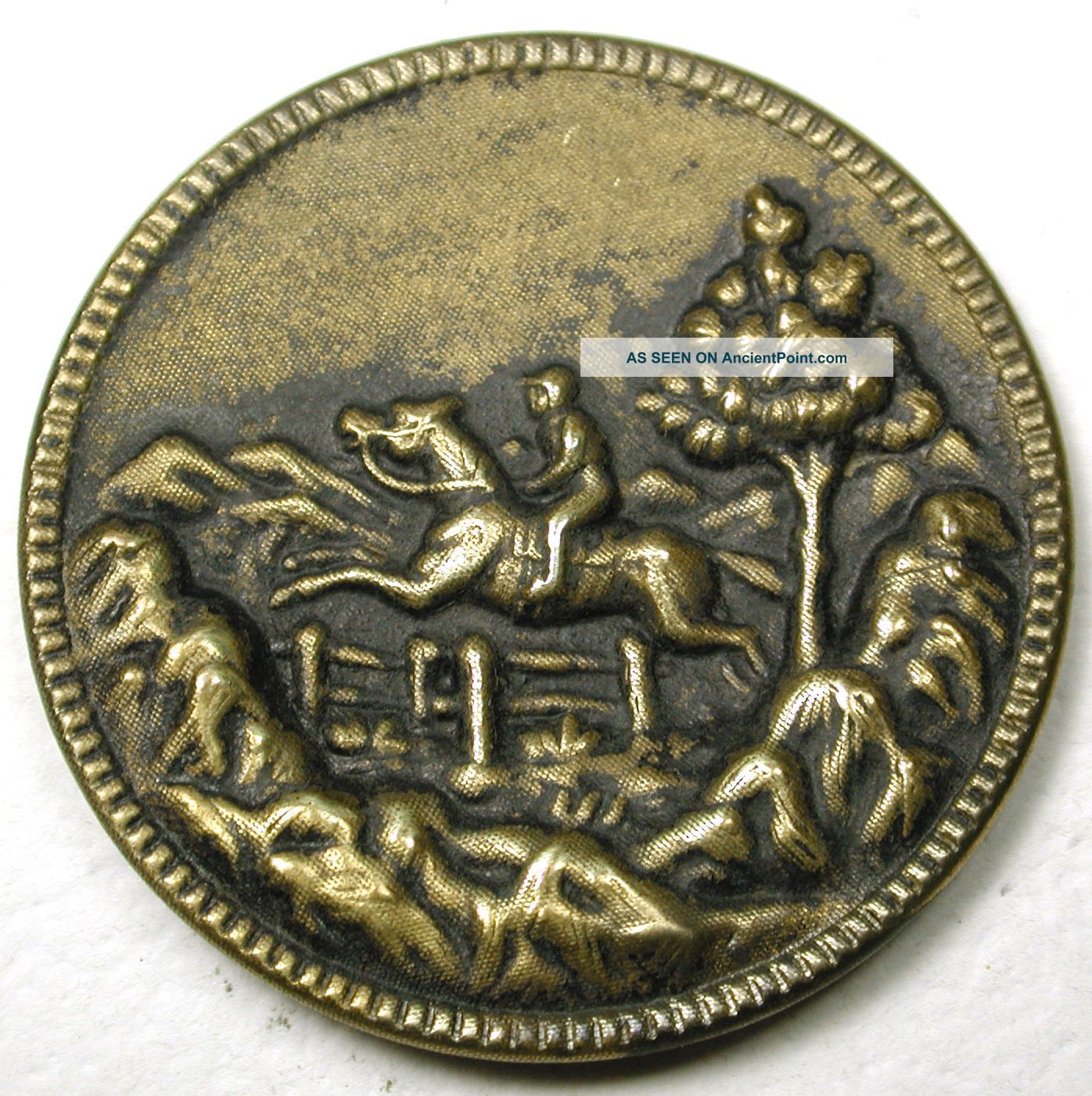 Lg Sz Antique Brass Equestrian Button Horse & Rider Jumping Scene 1 & 7/16