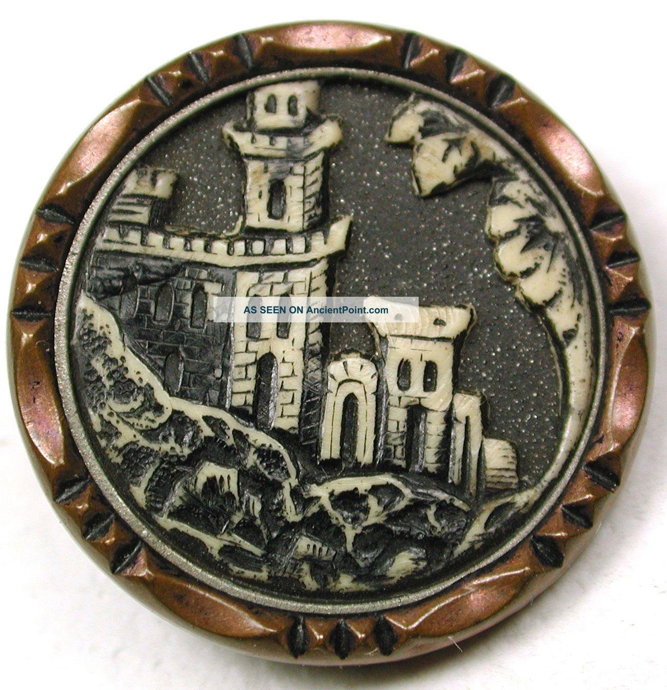Med Sz Antique Ivoroid Button Detailed Castle Pictorial Design - 7/8