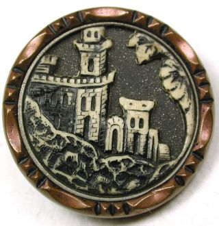 Med Sz Antique Ivoroid Button Detailed Castle Pictorial Design - 7/8