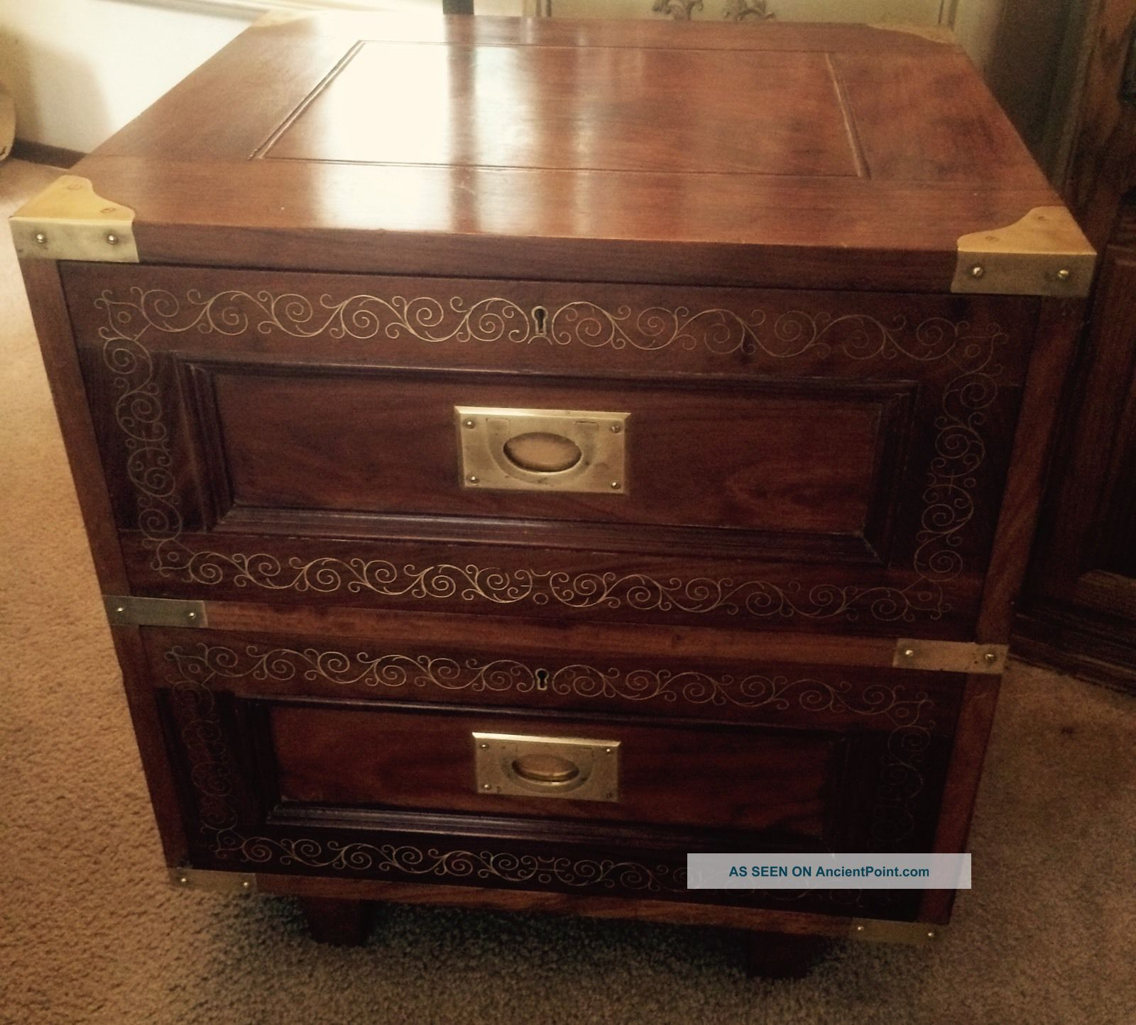 M Hayat & Bros Rosewood Brass Inlay Two Drawer Cabinet Chest.  Asian Pakistan Unknown photo