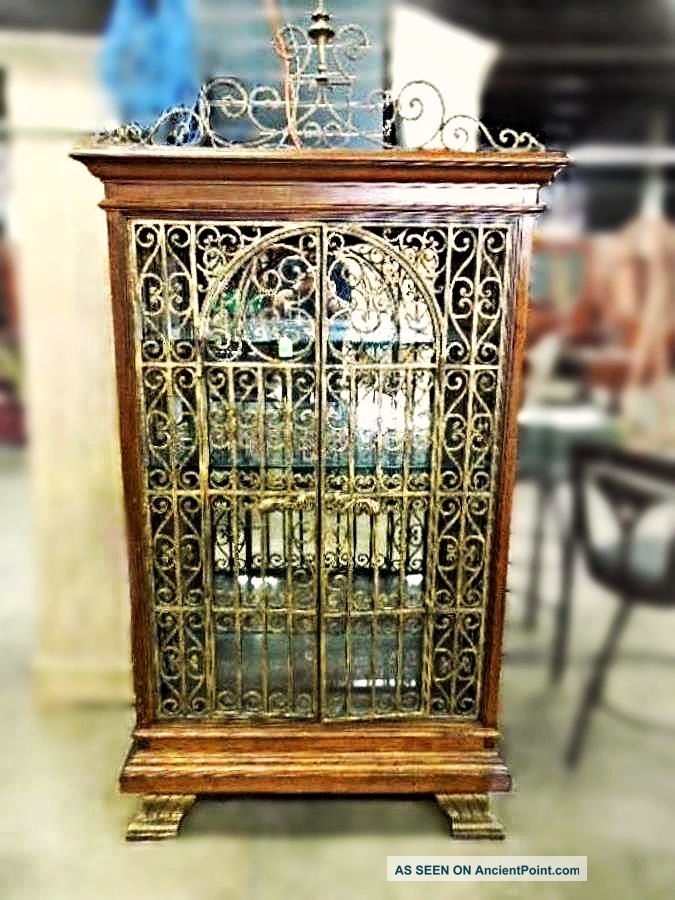 Baroque Iron Cherry Display Curio China Cabinet Breakfront Bookcase Victorian Post-1950 photo