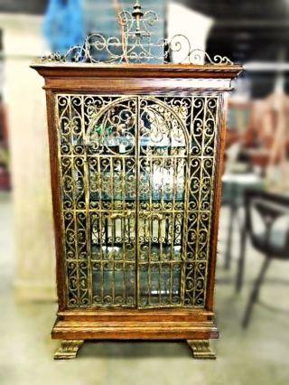Baroque Iron Cherry Display Curio China Cabinet Breakfront Bookcase Victorian photo