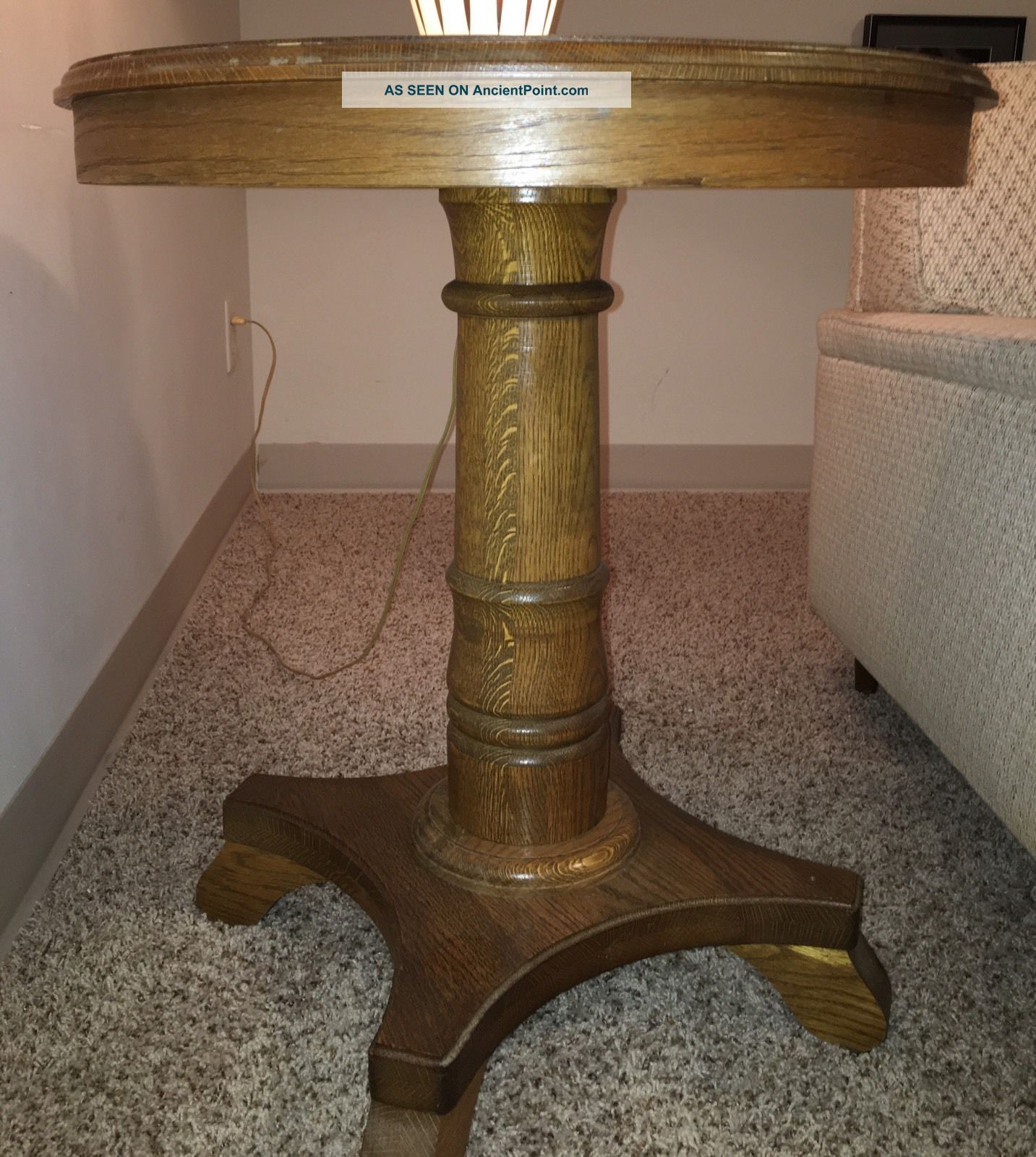 Antique Oak Round Side Table 1900-1950 photo