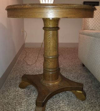 Antique Oak Round Side Table photo
