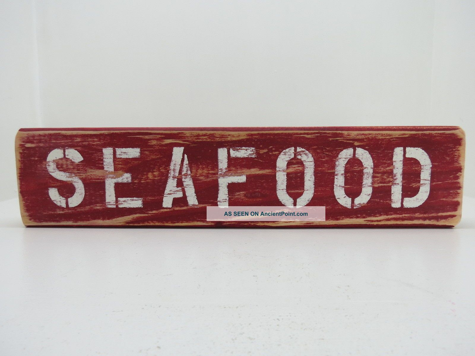 15 Inch Wood Hand Painted Seafood Sign Nautical Maritime (s648) Plaques & Signs photo