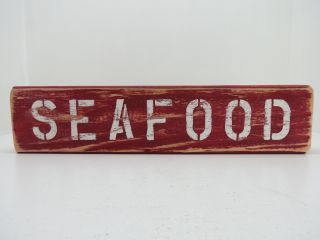 15 Inch Wood Hand Painted Seafood Sign Nautical Maritime (s648) photo