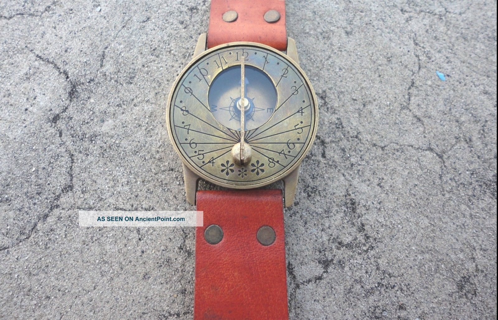 Vintage Style Marine Nautical Brass Sundial Compass Wrist Watch Type - See more Vintage Style Marine Nautical Brass Sundial Co... photo