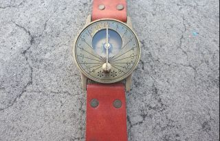 Vintage Style Marine Nautical Brass Sundial Compass Wrist Watch Type - photo