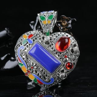 Chinese Exquisite Cloisonne Inlaid Zircon Hand Carved Heart Shape Pendant photo