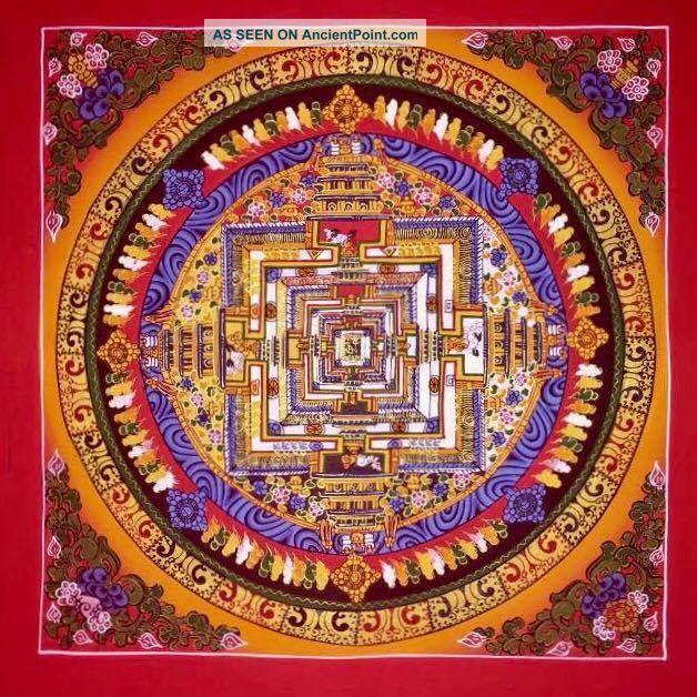 Handpainted Tibetan Chinese Mandala Thangka Painting Meditation A1166 Paintings & Scrolls photo