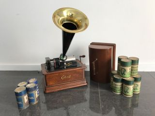 Edison Wind - Up Cylinder Phonograph / Gramophone & Records Delightful photo