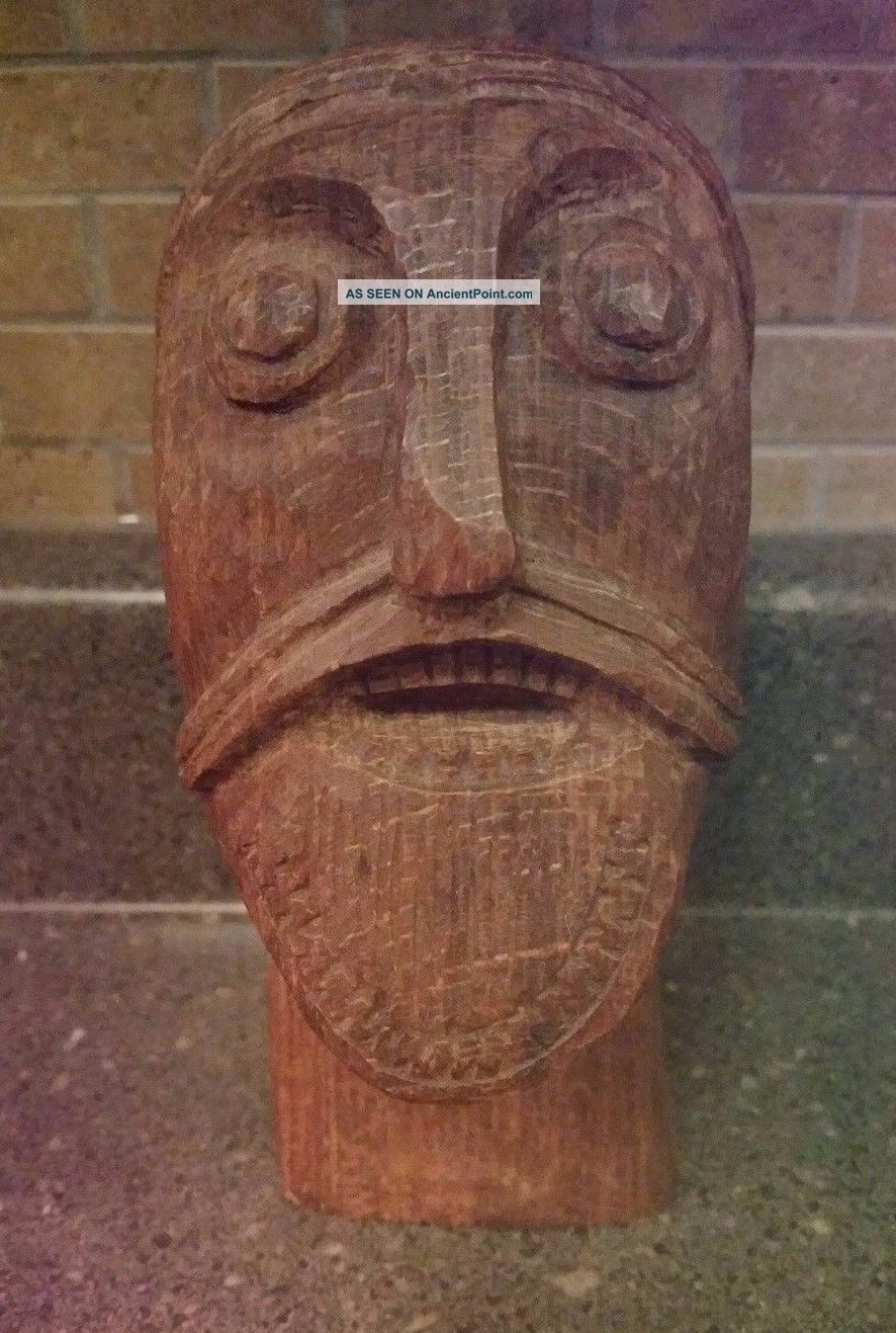 Carved Viking Head From The Oseberg Ship Grave Dated About 834 Ad Replica Viking photo